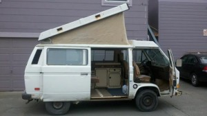 My very first Westy. A 1986 Full Camper that looked like it had once rolled down a hillside, but she ran great. Sold her to a guy from the Bay Area back in December of 2012.