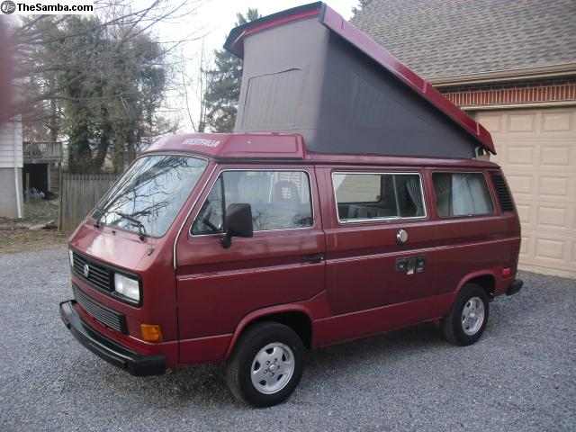 Red 1987 VW Vanagon Westfalia Camper - $9,000 in PA