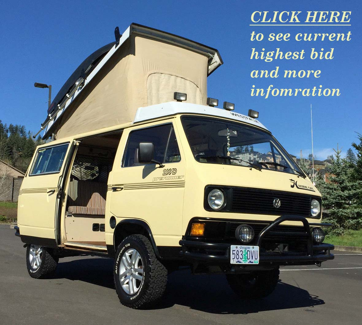 1983 VW Vanagon Westfalia Camper w/ GoWesty 2 4L Engine